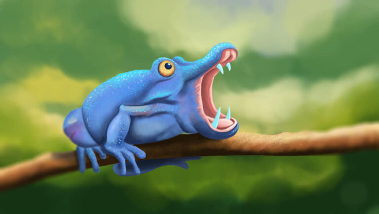 Blue Frog opening big mouth, sitting on the branch of the tree in digital art gallery