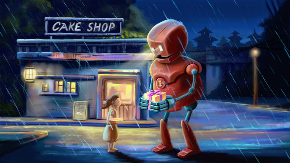 robot delivering cake to a girl in a digital art