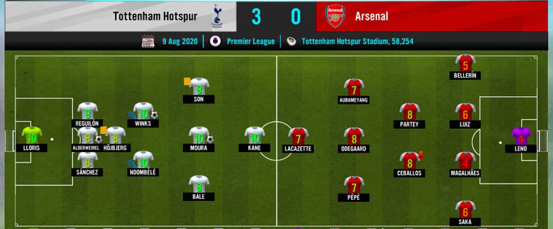 Tottenham vs Arsenal, beat arsenal fc in leage match soccer manager 2021