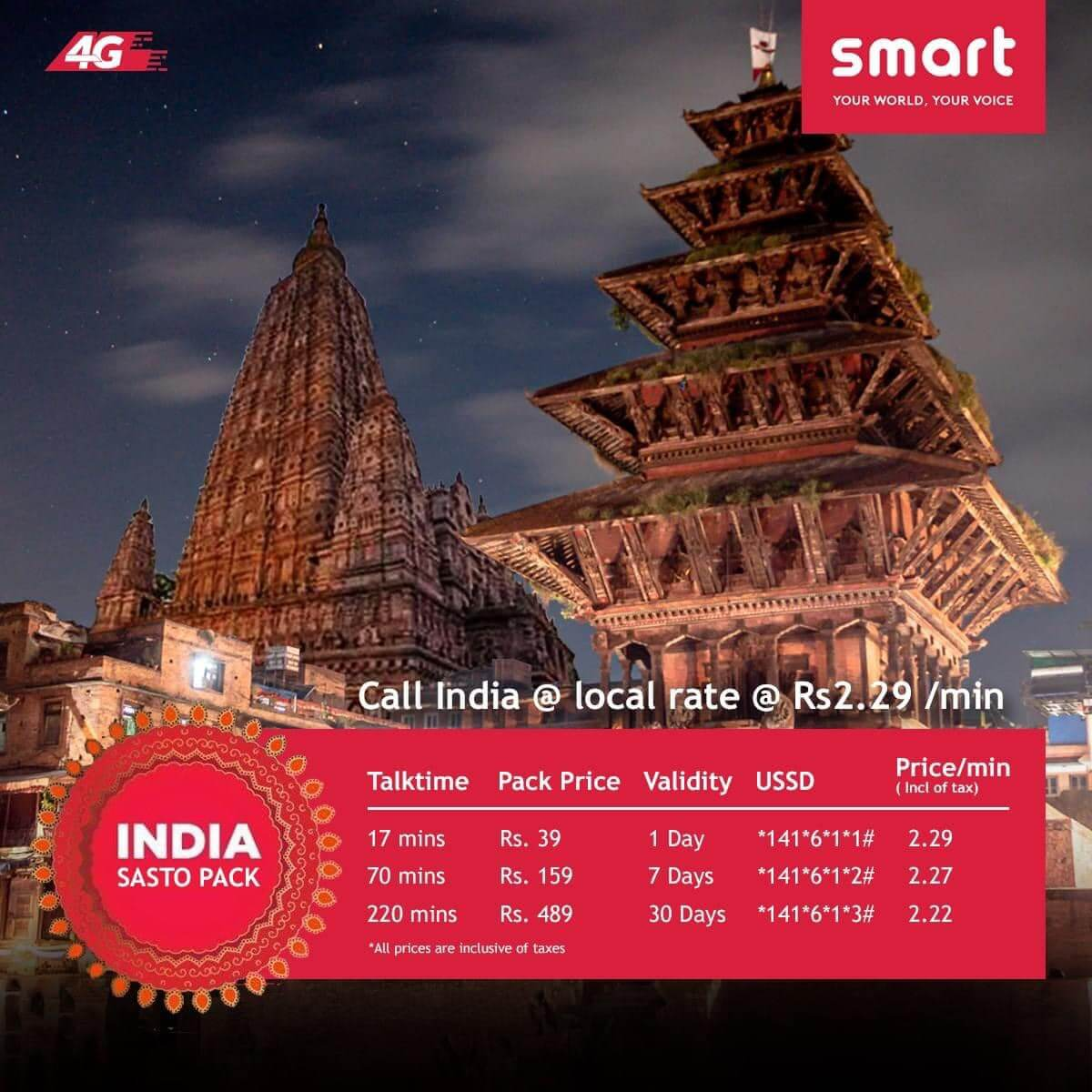 smart cell call india packs services