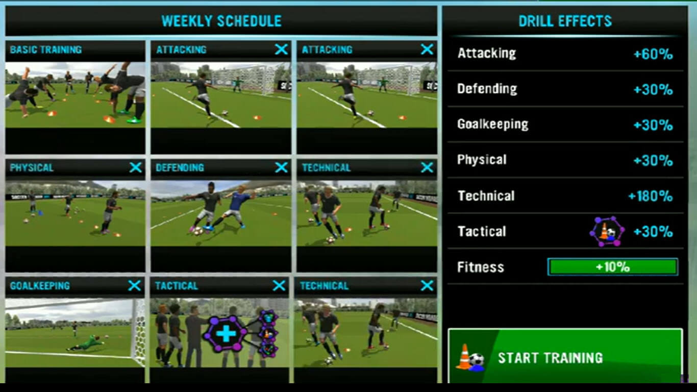 soccer manager training tips with best weekly schedule slot