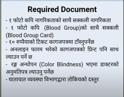 Required Documents to register online driving license form in Nepal